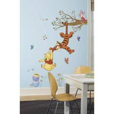 Winnie The Pooh Nursery Curtains by Roommates 5 In X 19 In Winnie The Pooh Swinging For Honey Peel