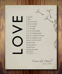 1st wedding paper anniversary gift print 1 corinthians 13 love is