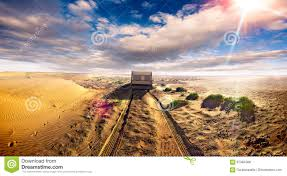 caravan lifestyle road and desert scenery landscape stock photo
