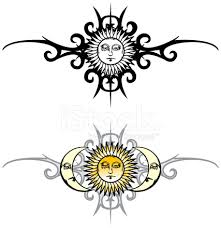 vintage sun and moon tribal stock vector freeimages com