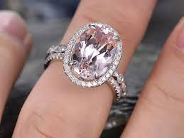 real promise rings images 8x14mm oval morganite engagement ring solid 14k white gold wedding jpg