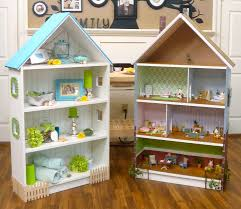 furniture dollhouse bookcase with black divider and white wall