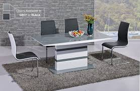 Glass Dining Table 6 Chairs White High Gloss Grey Glass Dining Table And 6 Chairs Homegenies