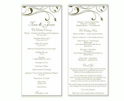 word template for wedding program wedding program template diy editable text word file