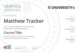 verified certificate edx
