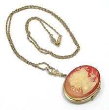 cameo antique necklace images Vintage 1928 resin cameo locket necklace jpg