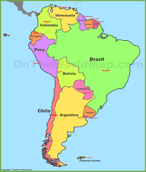 United States Capitals Map by Map South America Political Division Countries Stock Vector Want