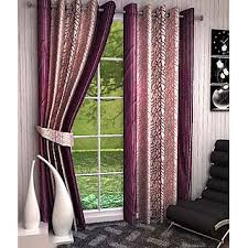 home luxurious set of 2 multi color pink printed eyelet window
