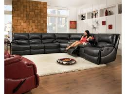 Reclining Sectional Sofas by Southern Motion Shazam Six Seat Reclining Sectional Sofa With Cup