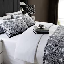 full queen size black and white floral cotton 4 piece duvet cover