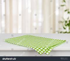 modern kitchen towels green checkered kitchen towel on table stock photo 361866737