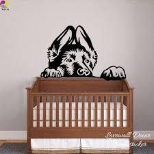 stickers animaux chambre b berger allemand chien tête wall sticker chambre enfants chambre bébé