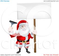 clipart of a christmas santa claus holding a window cleaning