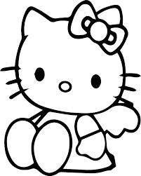 sitdown hello kitty coloring page wecoloringpage