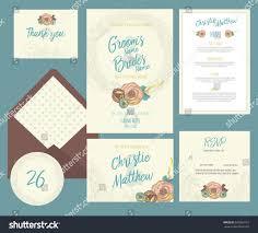 Wedding Invitations Information Set Templates Wedding Invitation Postcard Information Stock Vector