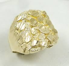 mens gold rings new solid 14k yellow gold large mens diamond cut nugget
