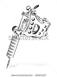 tattoo gun sketch machine gun tattoo draft sketch of a tattoo machine stock vector