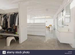 minimalist vanity white modern minimalist walk in closet and bathroom vanity stock