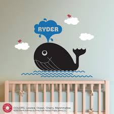 whale wall decal sticker baby name ocean nursery children 50 00 whale wall decal sticker baby name ocean nursery children 50 00 via etsy