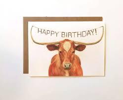 Texas Longhorns Home Decor Texas Longhorn Happy Birthday Card Birthday Cards For
