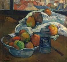 paul gauguin bowl of fruit and tankard before a window c 1890