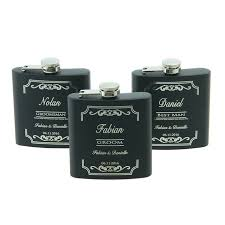 and groom flasks free personalized engraved 6 oz stainless steel black hip flask