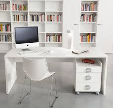 white high gloss finish study table with book shelf and three