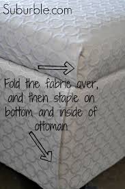 No Sew Slipcover For Sofa The No Sew Way To Recover An Ottoman Ottomans Upholstery And Craft