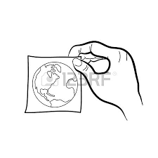 hand drawing freehand sketch hand holding sticker note vector
