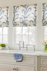 Roman Shades And Valances Lovely Roman Shades In This White Kitchen Marble Counters Blue