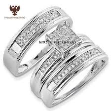 his and hers engagement rings diamond trio set his hers matching engagement ring wedding band