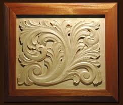carved wood panels acanthus decorating interior room with carved