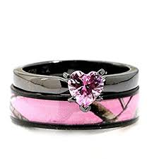 hypoallergenic metals for rings black plated pink camo wedding ring set pink heart