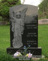headstones and memorials black granite headstone with angel carving