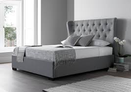 Grey Bed Frame Salerno Cool Grey Upholstered Bed Frame Upholstered Beds Beds