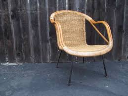 Swivel Wicker Patio Chairs by 60s Vintage Wicker Chair Mcm Rustic Bamboo Armchair Steel Legs