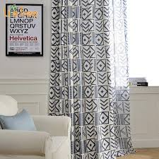 Geometric Pattern Curtains Geometric Patterns Printed Linen Curtain For Living Room Cotton