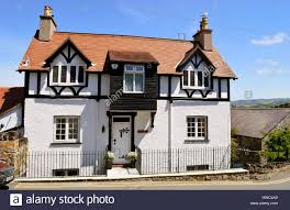mock tudor style house in north wales stock photo royalty free