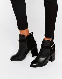 womens boots kurt geiger miss kg buckle heeled ankle boots black synthetic