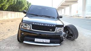 range rover sedan damaged range rover abandoned in dubai