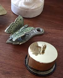 Butterfly Desk Accessories Vintage Retro Mid Century Modern Brass St Roll Dispenser And