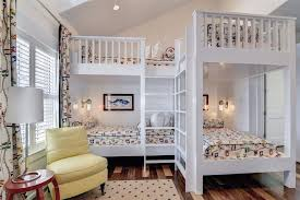 4 Bed Bunk Bed Traditional Guest Bedroom With Cathedral Ceiling Exposed Beam In
