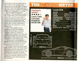 lexus lfa torque jeremy clarkson reviews the lexus lfa toyota nation forum
