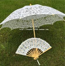 cheap wedding fans vintage princess wedding lace parasol and fan umbrella 2016 new