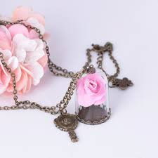 rose glass necklace images Disney beauty and the beast necklace pendant wish rose dried jpg
