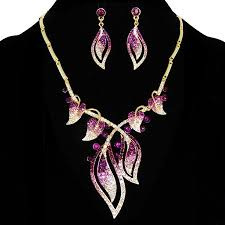 purple gold necklace images Leaf design purple rhinestone inlaid gold tone necklace and jpg