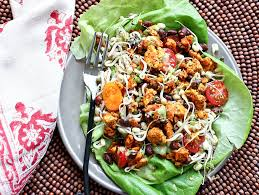 light and easy dinner 5 spice tempeh salad with avocado ranch dressing