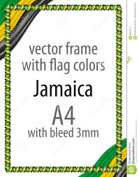 Colors Of Jamaican Flag Frame And Border Of Ribbon With The Colors Of The Jamaica Flag