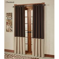 living room chest nut and cream color block grommet drapes with