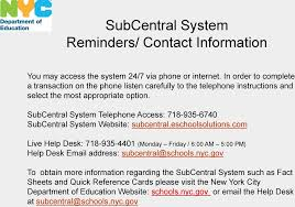 sub central help desk number the subcentral system for substitute paraprofessionals pdf